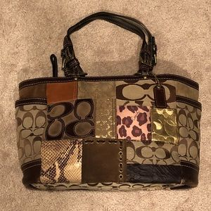 Coach Animal Print Patchwork Tote